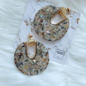 Jewelry - Disc Shape Goldtone Earrings-Crushed Abalone Shell